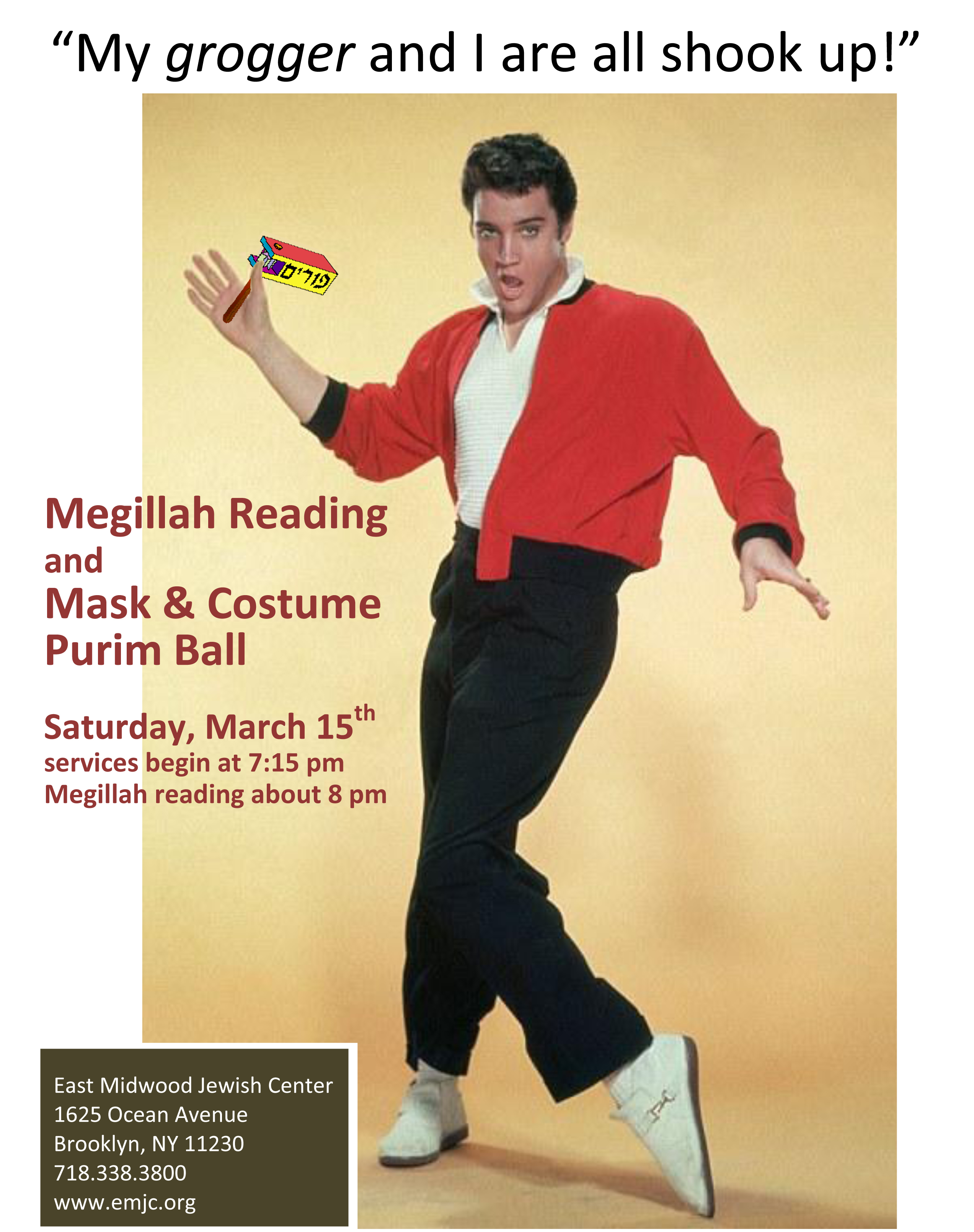 Purim 2014 party Elvis_flyer_color
