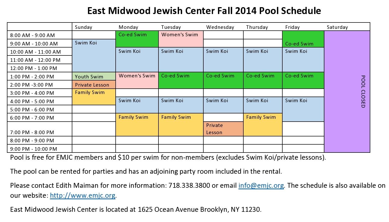 emjc pool schedule 2014