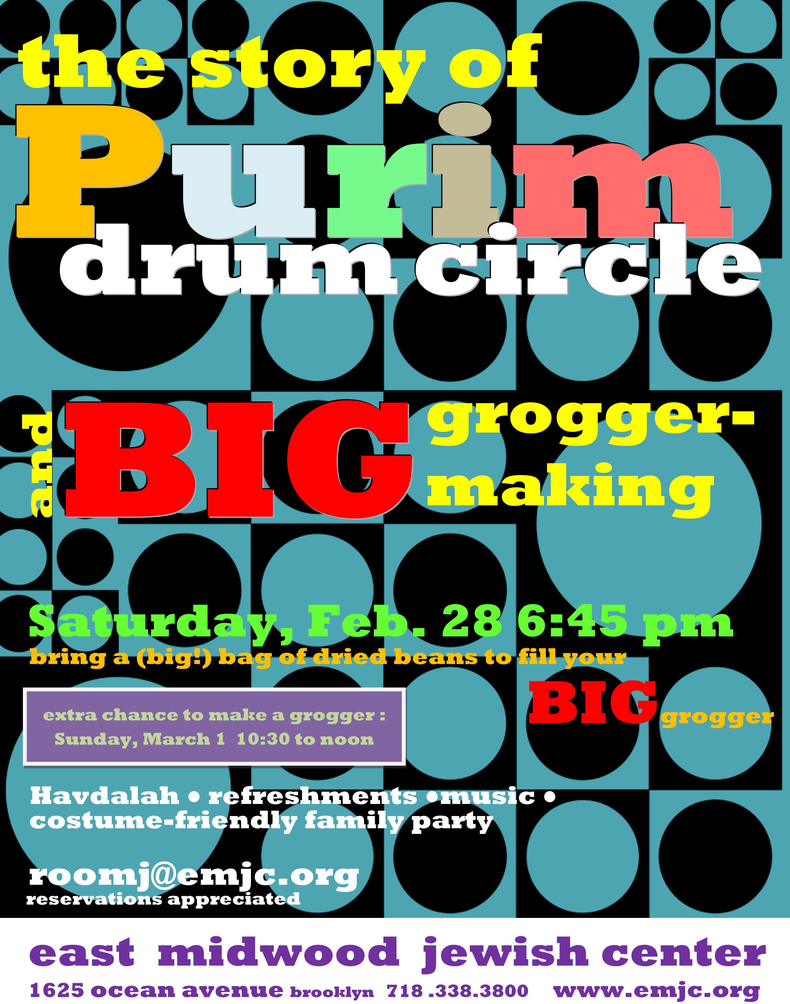 Purim 2015 drum circle_grogger