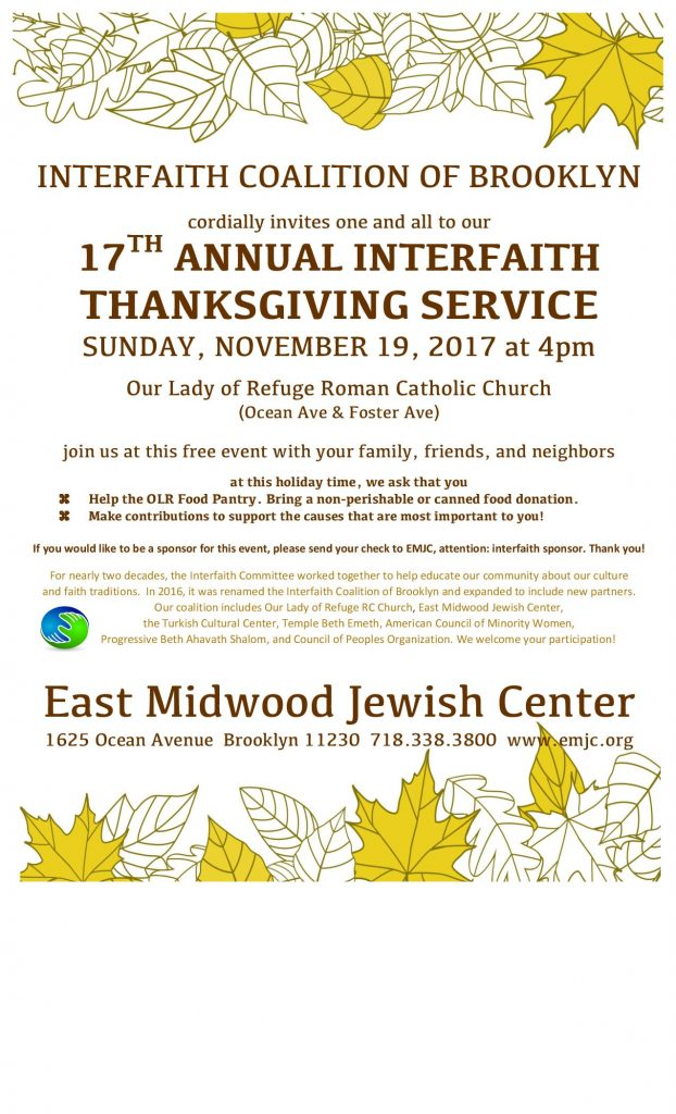 17th Annual Interfaith Thanksgiving Service - East Midwood